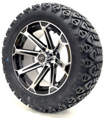 "Madjax 14"" Vortex Machined Black Wheels with Lifted Tire Options Combo"