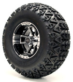 "Madjax 10"" Apex Machined Black Wheels with Lifted Tire Options Combo"