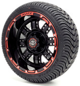 """Madjax 12"""" Transformer Black and Red Wheels with Street Low Profile Tire Options Combo"""