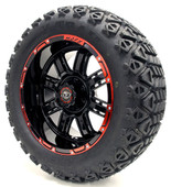 "Madjax 14"" Transformer Black and Red Wheels with Lifted Tire Options Combo"
