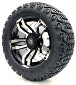 """Madjax 14"""" Velocity Machined Black Wheels with Lifted Tire Options Combo"""
