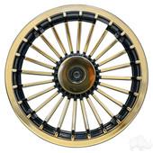 "8"" Gold Turbine Style Golf Cart Wheel Cover"
