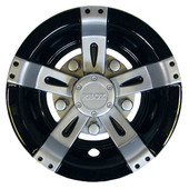 """8"""" RHOX Silver and Black Vegas Style Golf Cart Wheel Cover"""