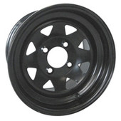 """12""""x7.5'' Rhox Black 8 Spoke Steel Golf Cart Wheel"""