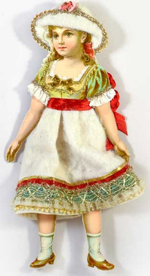 Cotton Batting Girl with Red Ribbon