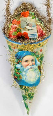 Blue Santa on Fabulous Paper Cone Candy Container with Winter Scene