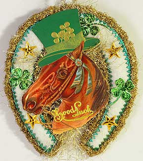 Deluxe Cotton-Batting St. Patrick's Day Horseshoe with Scrap Horse