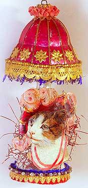 Lady Cat in Wonderful Figural Glass Lamp