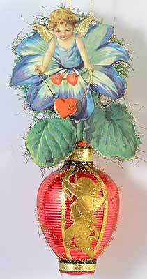 Flower Fairy with Heart Necklace on Glass Lantern Ornament