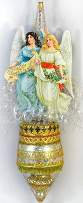 Twin Angels on Deluxe Antique Spindle Ornament
