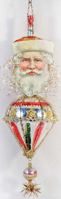 RARE Santa on Antique Glass Cone Ornament with Original Pike