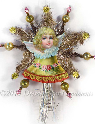 Victorian Angel on Bell with Tinsel Star Tree Topper and Glass Beads