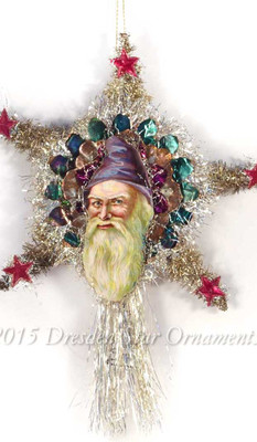 Victorian Santa with Purple/Lavender Hood on Silver Tinsel Star Tree Topper
