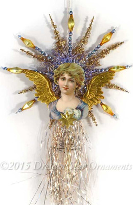 Lavender Maiden with Dresden Wings on Beaded Tinsel Topper