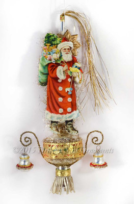 Victorian Santa with Bird and Toys on Silver Glass Topper with Antique Bells