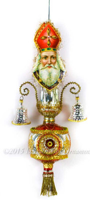 St. Nicholas Santa on Indented Glass Spire Topper with Silver Bells