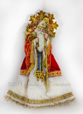 Jeweled St. Nicholas Santa Tree Topper with Cotton Batting Skirt