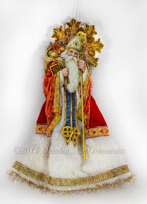 Jeweled St. Nicholas Santa Tree Topper with Cotton Batting Skirt