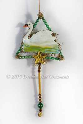 Serene Swan in Antique Glass Beaded Triangle Victorian Ornament