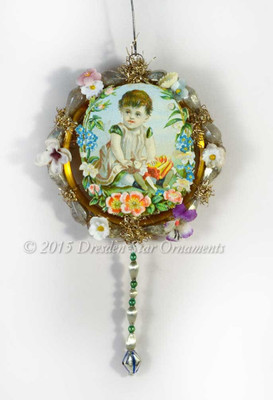 Child Surrounded by Silk Flowers and Antique Glass Beads Victorian Ornament