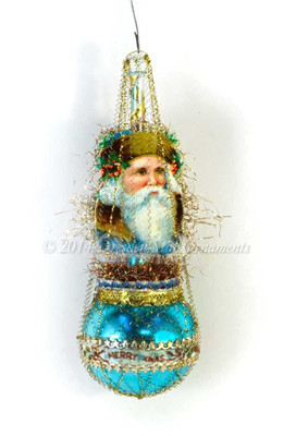Santa on Blue Single-Balloon Ornament with Christmas Ribbon Victorian Ornament