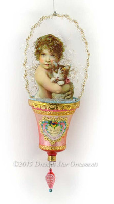 Adorable Child with Cuddly Cat on Pink Glass Bell Basket