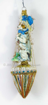 Begging Dog with Blue Bonnet on Silver Glass Parasol Victorian Ornament