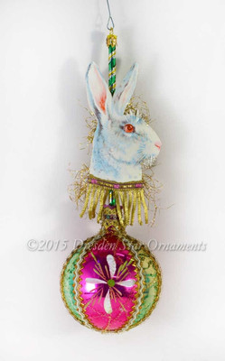 White Bunny on Fanciful Glass Sphere with Green Pole Easter Ornament