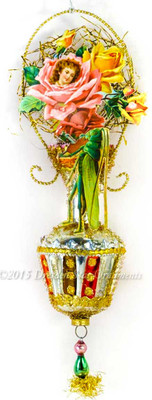 Victorian Rose Maiden with fiddle-Playing Grasshopper on Glass Vase Ornament