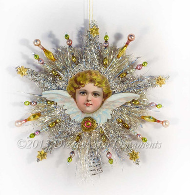 Cherub Framed in Sparkling Silver Tinsel Star Tree Topper with Glass Beads