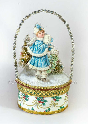 Reserved for Dennis - Winter Scene with Girl in Blue on Gilded Candy Container