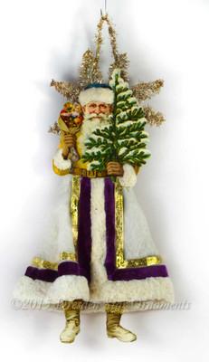 Reserved for Dennis- Santa Holding Tree with Cotton Batting Skirt and Velvet Ribbon