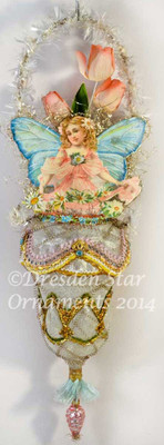 Reserved for Susan - Pink and Blue Fairy on Antique Glass Trumpet Flower