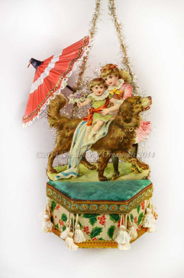 Reserved for Yuliya - Girls and dog with Umbrella on Deluxe Candy Container Ornament