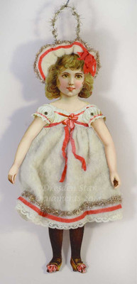 Rare Jointed Paper Doll Girl in Cotton Batting Dress
