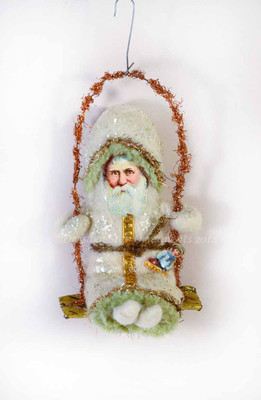 Cuddly Cotton Santa on Swing with Copper Tinsel Handle