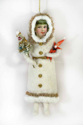 Large Cotton Snow Girl with Tree and Santa Toy