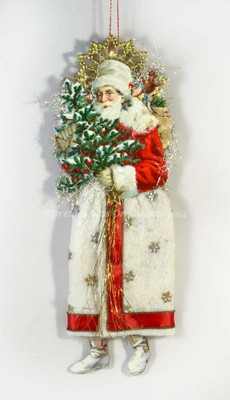 Gorgeous Santa in Cotton Batting Skirt accented with Silk Ribbon