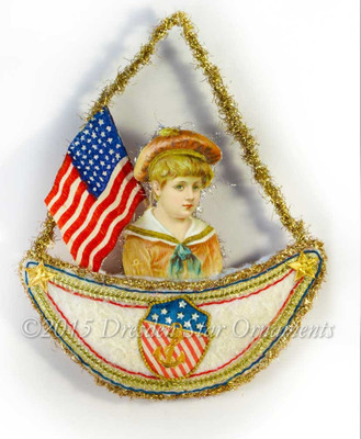 Victorian Sailor Boy On Cotton Batting Boat Ornament With Rare Crêpe Paper Flag