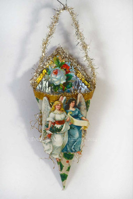 Christmas Angels on Cornucopia Candy Container with Cabbage Roses