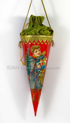 Red Candy Container with Green Silk Pouch and Boy in Blue with Christmas Presents
