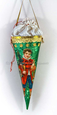 Green Candy Container with Ivory Silk Pouch and Boy in Red with Christmas Presents