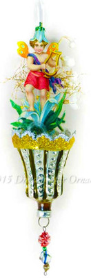 Lily Fairy with Lyre on Antique Glass Bumpy Bell