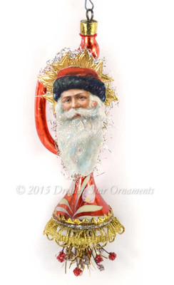 Santa with Red Fur Cap on Gilded Red Glass Horn