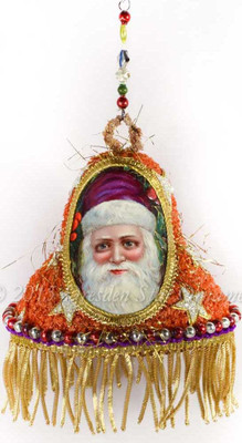 Antique Beaded Chip-Tinsel Bell with Amazing Santa and Bullion Fringe  PA15028