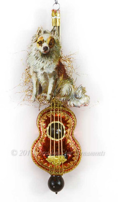 Reserved for Melissa – Exquisitely Detailed Glass Cello Ornament with Cute Dog