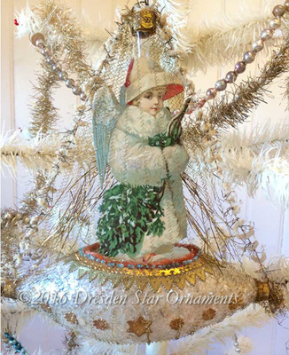 Exquisite Victorian Snow Angel on Rare Large Antique Glass Boat
