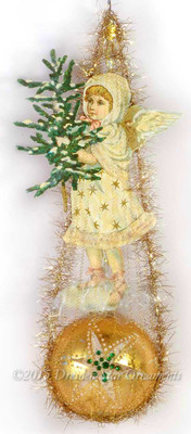 Victorian Snow Angel Holding Tree on Golden Sphere Ornament with Star