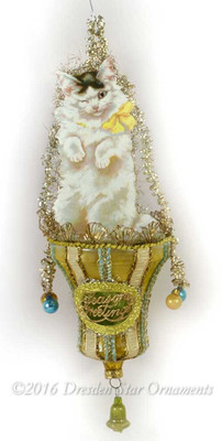 Reserved for Diana – Winking White Kitty on Gold Bell Ornament