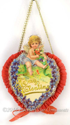 Reserved for Cynthia – Two-Sided Valentine Candy Container with Cupid holding flowers